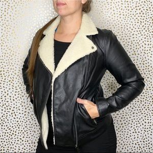 Old Navy Faux Leather Shearling Collar Jacket